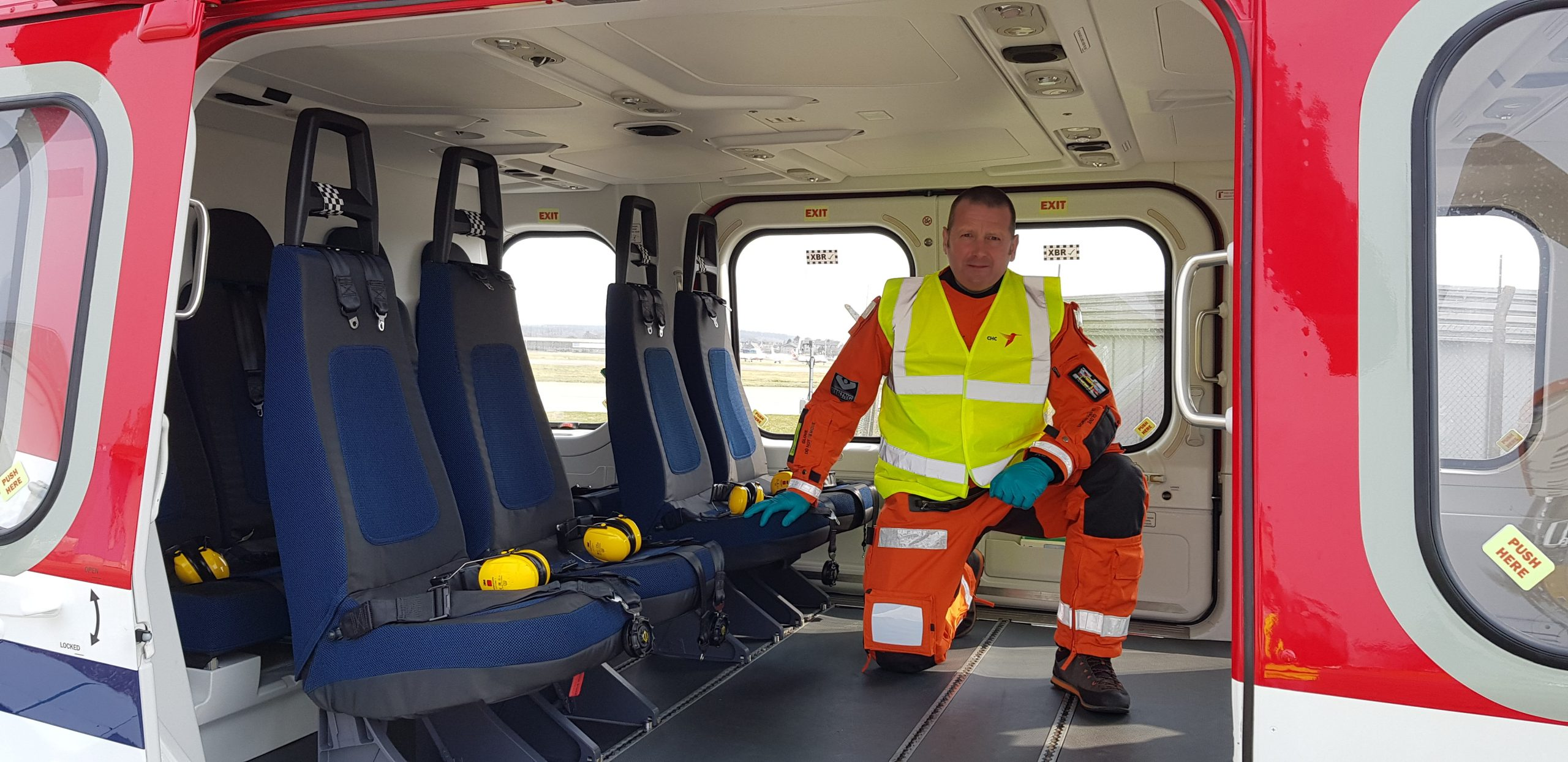 SSI Energy medic in the cabin of a CHC COVID Copter.
