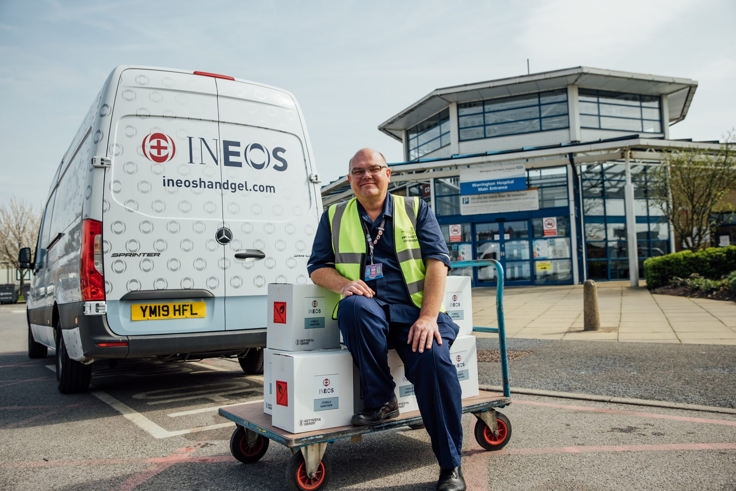 Hospital staff take delivery of supplies of INEOS hand sanitiser